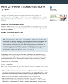 Magic Quadrant for Manufacturing Execution Systems (MES), 2019