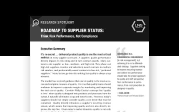 LNS Research Spotlight: Roadmap to Supplier Status