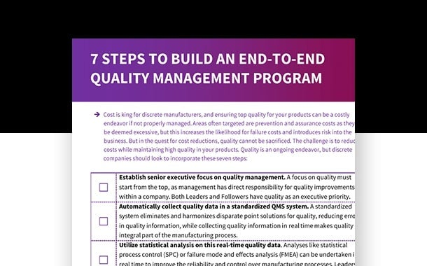 7 Steps to Build an End-to-End Quality Management Program